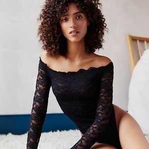 Free People Off-the-shoulder Bodysuit Lace Detail